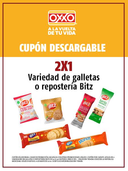 2x1 variedad de galletas o repostería Bitz en Oxxo