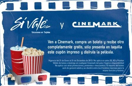 Cinemark: 2x1 todo el 2013 con cupón