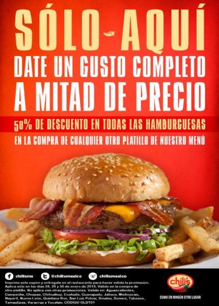 Chili's: 50% de descuento en hamburguesas comprando otro platillo con cupón