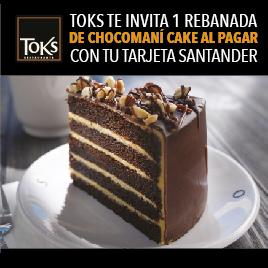 Toks: rebanada de Chocomaní Cake gratis pagando cena con Santander