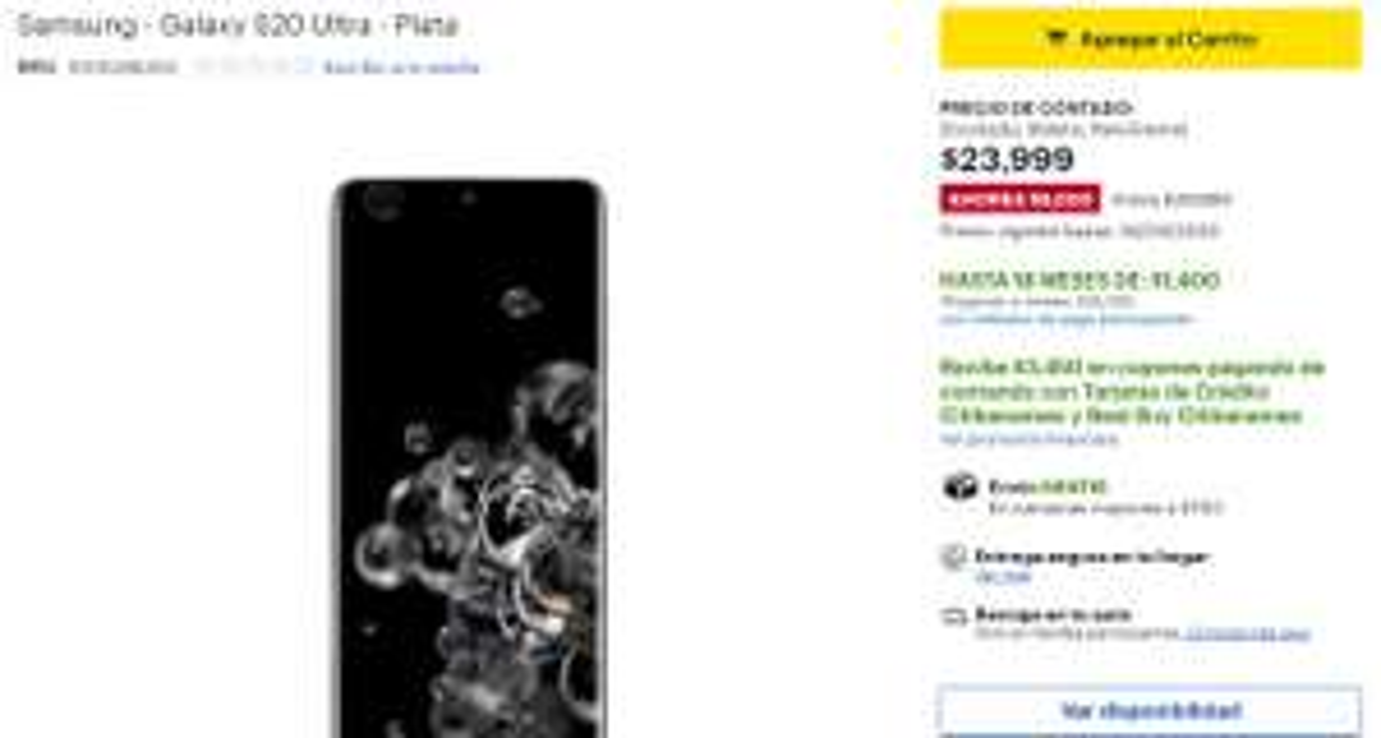 Best Buy: Samsung Galaxy s20 ULTRA (Pagando a 15msi con citibanamex)