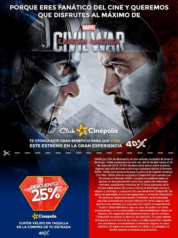 Cinépolis: 25% menos al presentar cupón en sala 4DX para Civil War