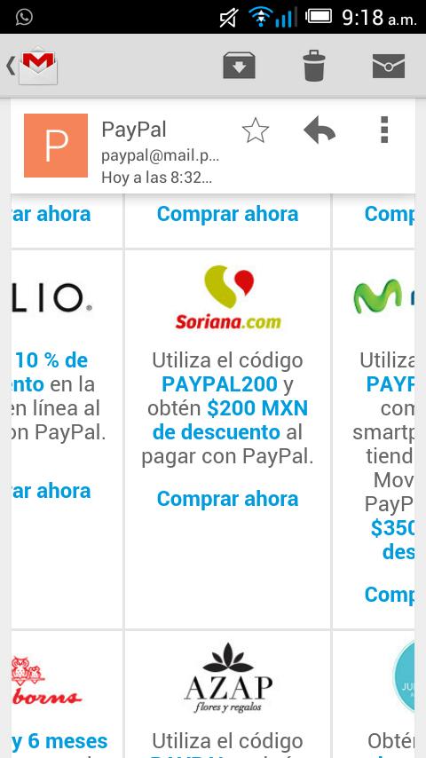 Soriana en línea: cupón de $200 pagando con PayPal (mínimo $600)