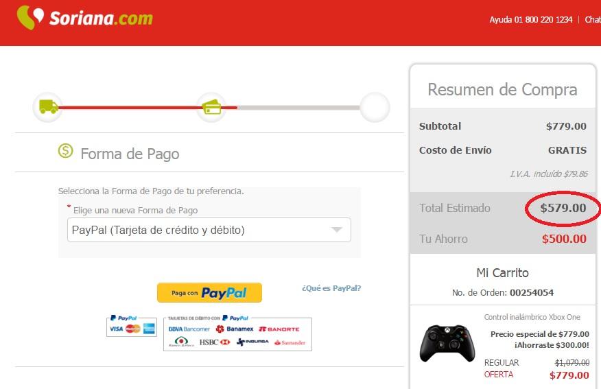 Soriana en línea: control inalámbrico para Xbox One a $579 con cupón Paypal