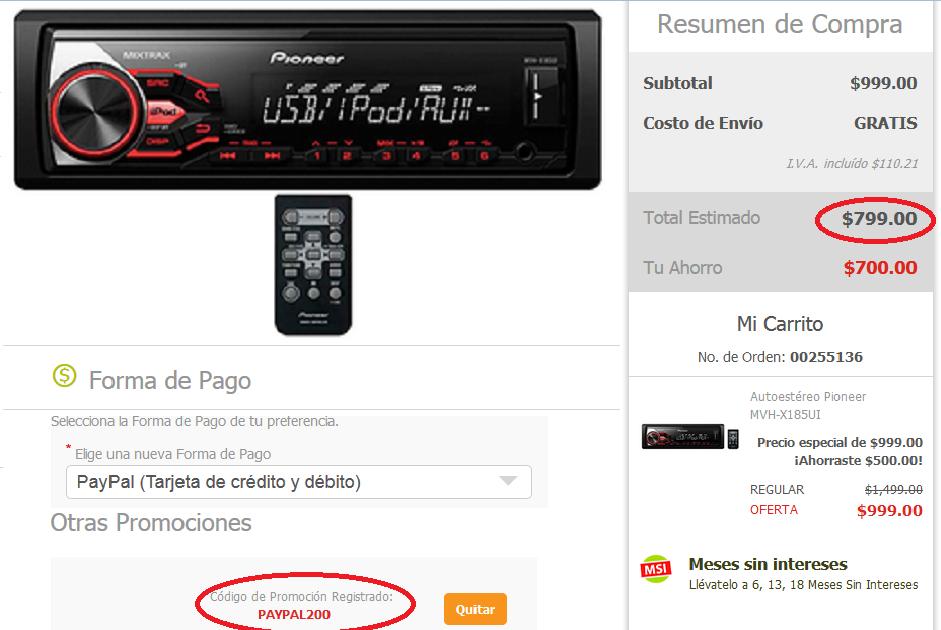 Soriana en linea: Autoestéreo Pioneer MVH-X185UI con USB AUX a $799 con cupón Paypal