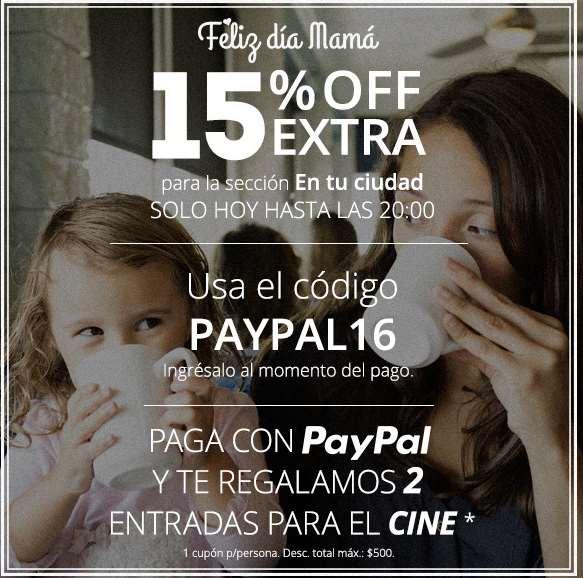 Groupon: 15% de descuento y boletos al cine gratis con PayPal con compra mínima