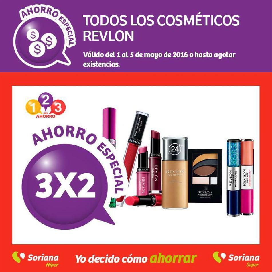 Soriana Hiper y Soriana Super: 3x2 en todos los cosméticos REVLON