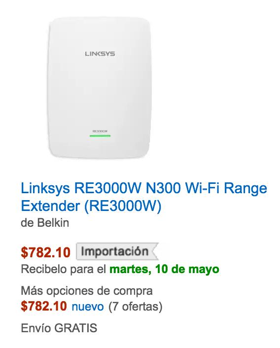 Amazon: Extensor de señal WI-FI Linksys N3000 a $782