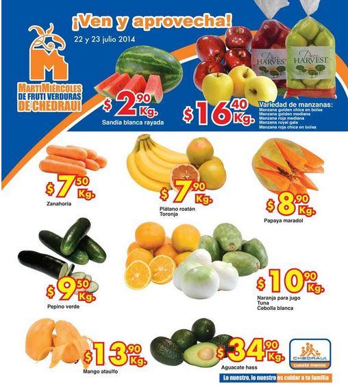 Ofertas de frutas y verduras en Chedraui julio 22 y 23