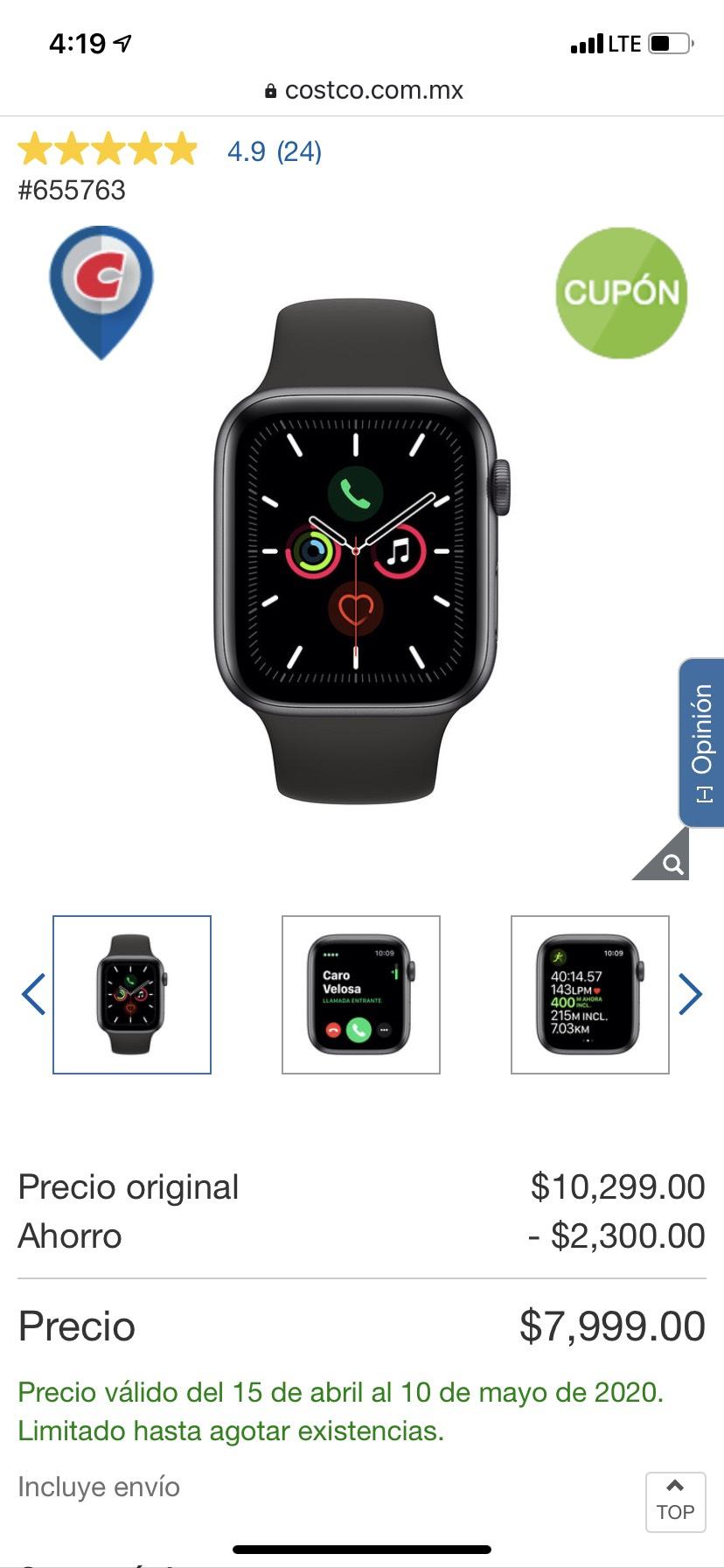 Costco Apple Watch Series 5 44mm GPS, comprando con Crédito Citibanamex Costco