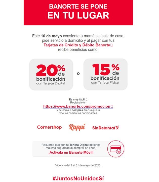 Banorte : 20% Bonificación Tarjeta Digital para Rappi, Sin delantal y Cornershop