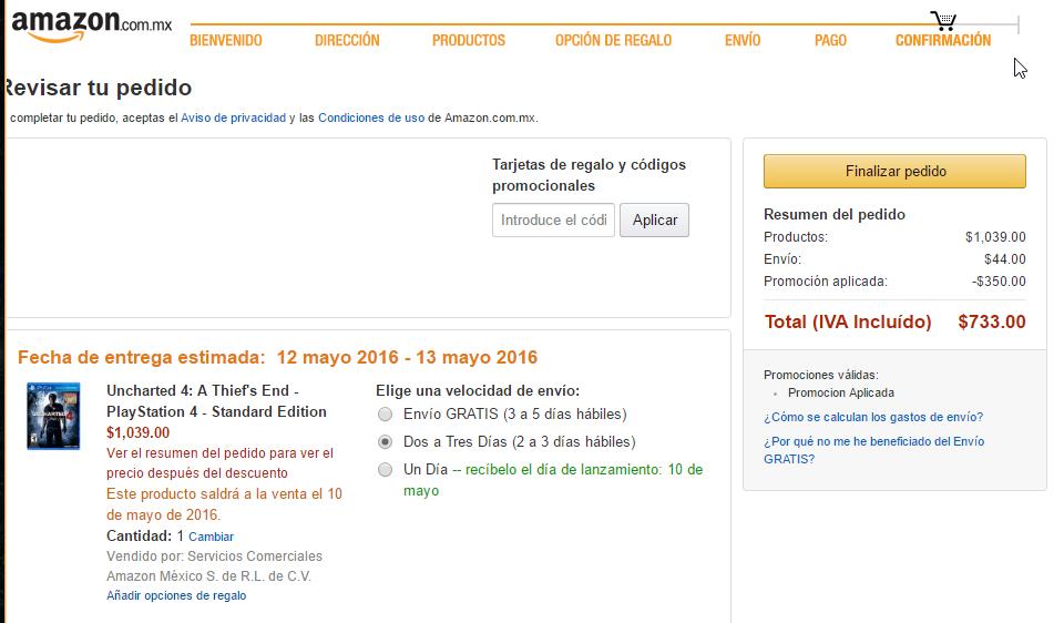 Amazon: Uncharted 4 A Thief's End PlayStation 4 a $689 con cupón de primera compra