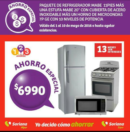 Soriana hiper y súper: Paquete de estufa, refrigerador y microondas a $6,990
