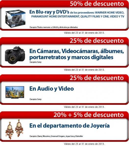 Sanborns online: 25% de descuento en televisiones, cámaras, video, 50% en películas y +