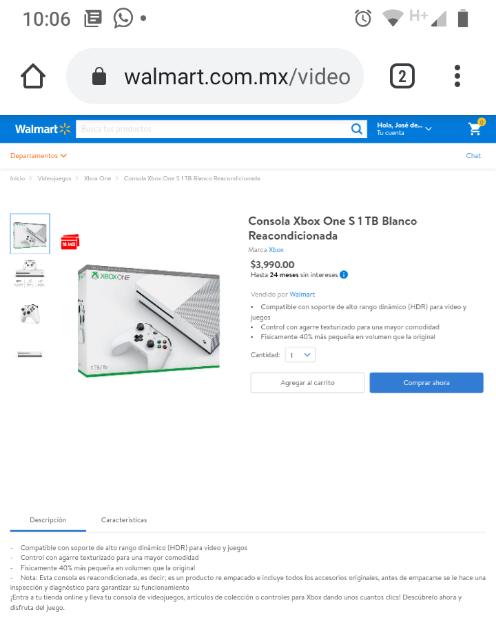 Walmart: XBOX ONE S Reacondicionado