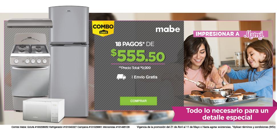 Lowes: Combo Mabe (estufa, campana, refrigerador y horno) por $9,999