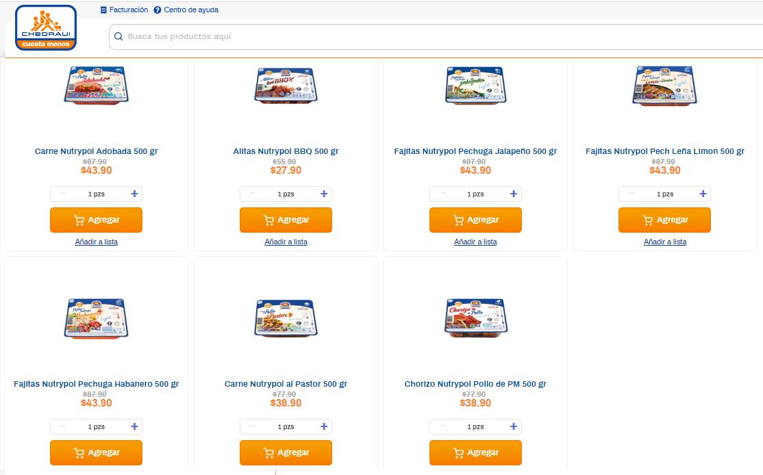 Chedraui Online Productos Nutrypol con Dsto. Alitas Nutrypol BBQ 500 gr 500 gr $27.90