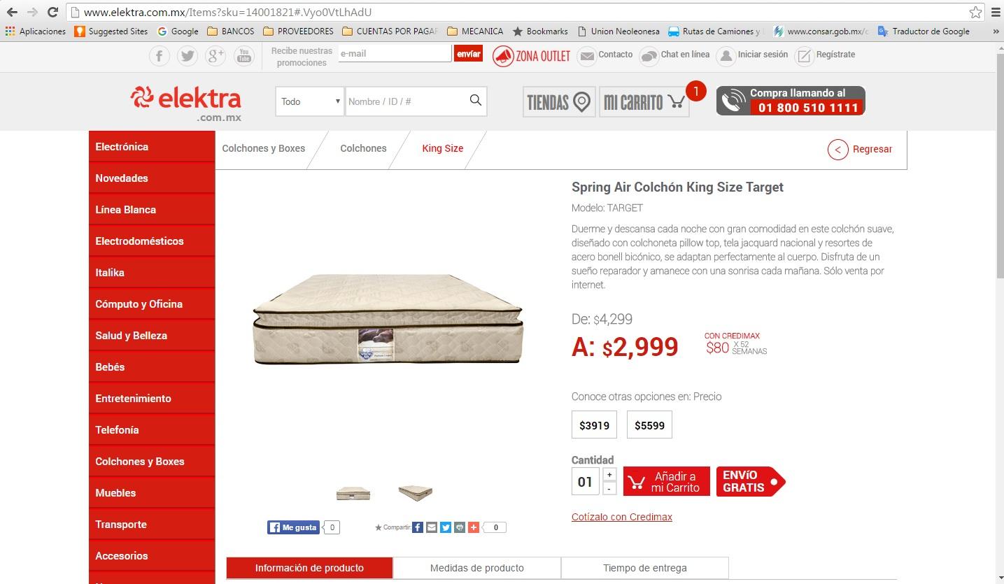 Elektra en línea: Spring Air Colchón King Size Target a $2,999