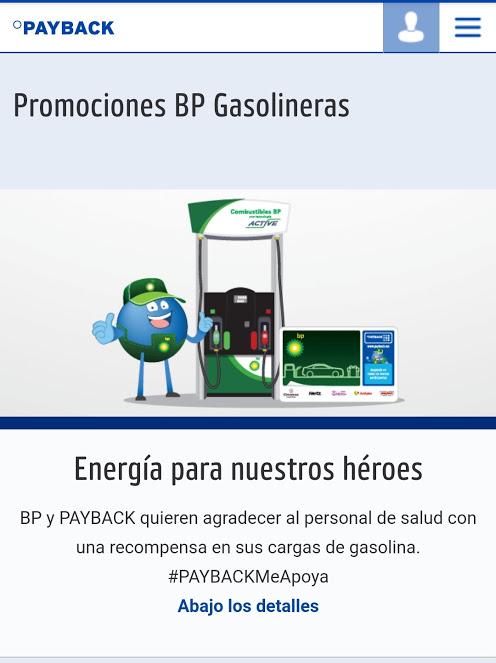 PayBack y BP gasolineras: Acumula 1 punto por cada 2 litros de gasolina (personal de salud)