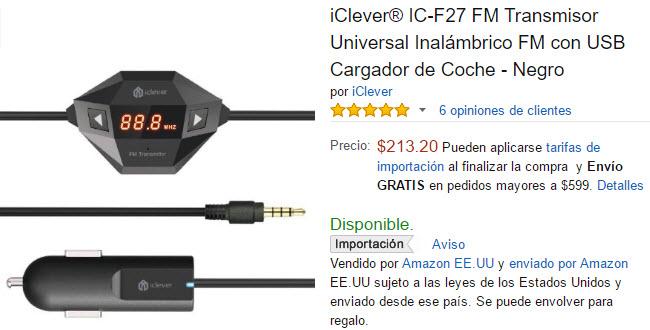 Amazon: Transmisor Universal Inalámbrico FM con USB Cargador de Coche y micrófono