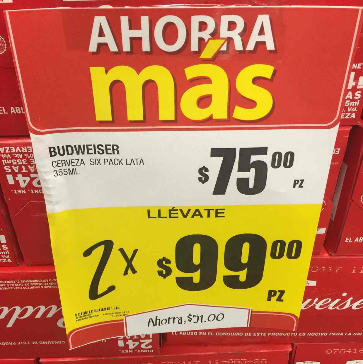 HEB Saltillo: Budweiser Six 2 x $99