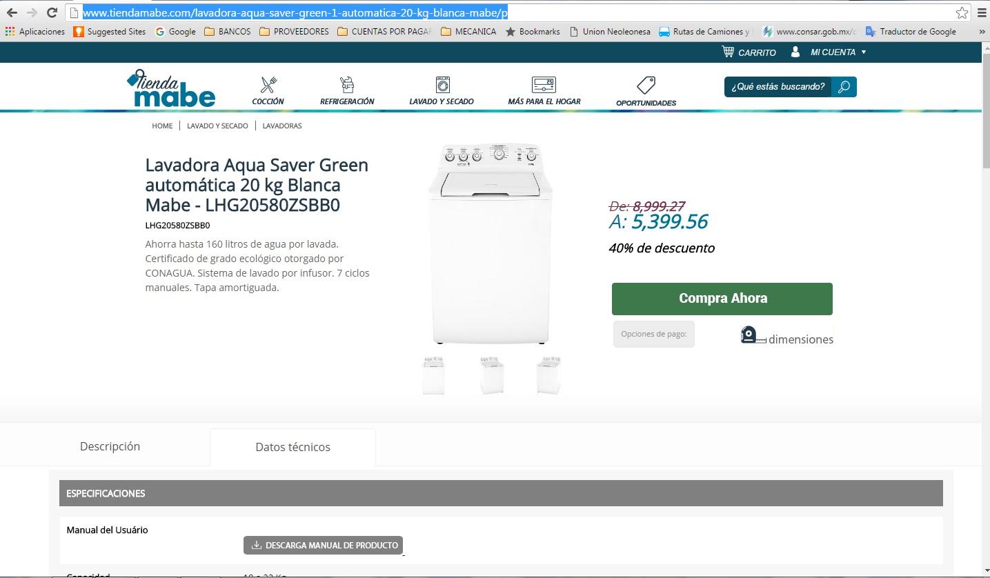 Tienda MABE en línea: Lavadora Aqua Saver Green automática 20kg Blanca LHG20580ZSBB0