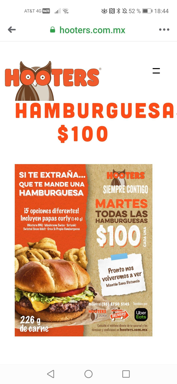 Hooters Todas las hamburguesas los martes a $100