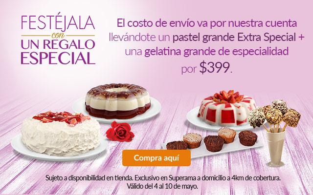 Superama en línea: Pastel y Gelatina grande para día de las madres. Envío gratis