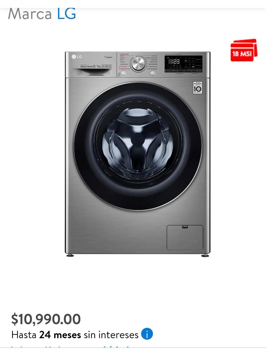 Walmart: Lavasecadora LG 12 Kg Silver Modelo WD12VVC4S6S