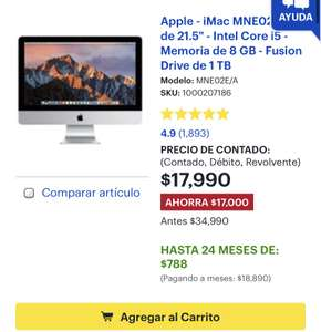 "Best Buy: Apple - iMac MNE02E/A de 21.5"" - Intel Core i5 - Memoria de 8 GB - Fusion Drive de 1 TB"