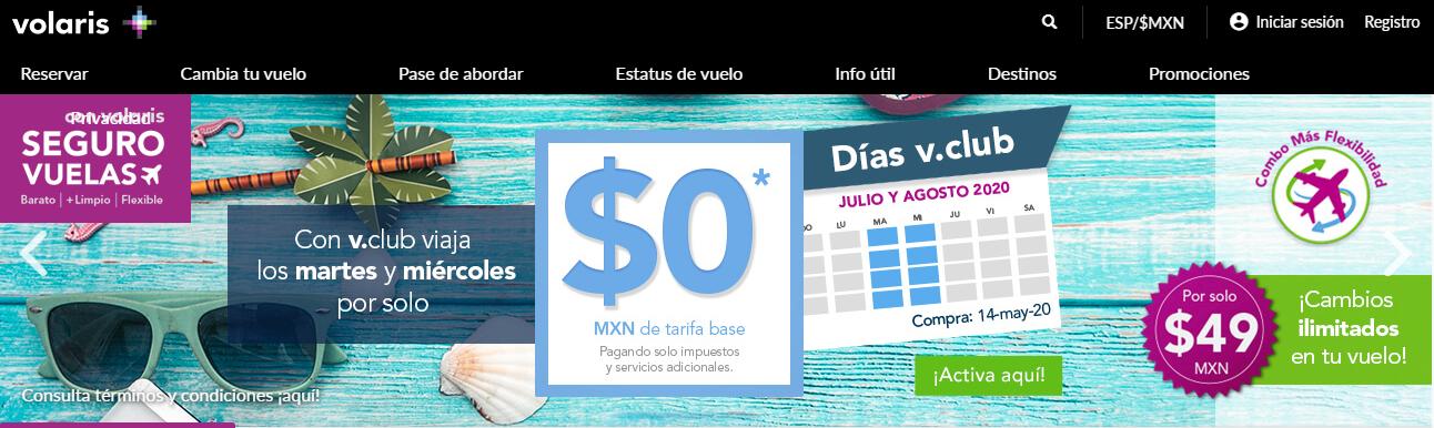 Volaris: Vclub $0.0 martes y miérc de julio y agosto