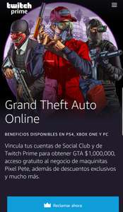 Twitch Prime: Obtén $1,000,000 en GTA Online (PS4, Xbox One, PC)