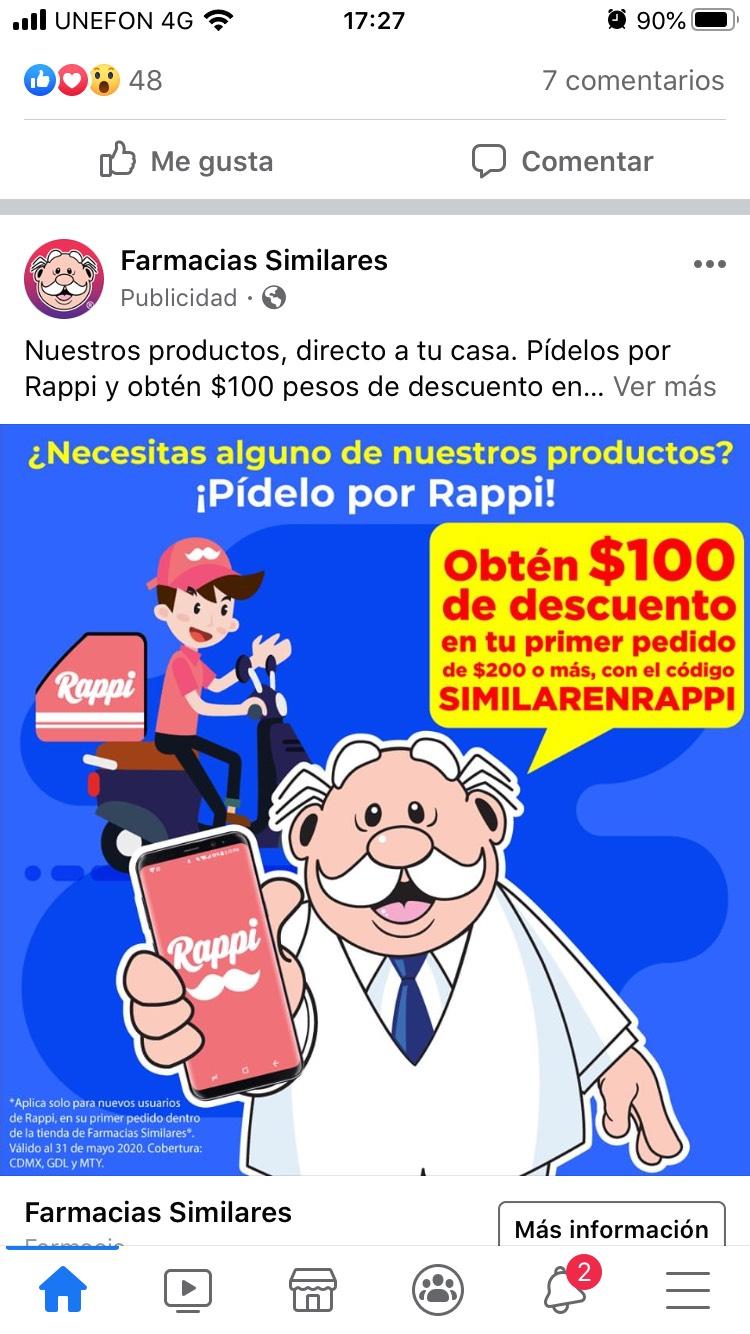 Farmacias similares 100 pesos de descuento comprando en Rappi