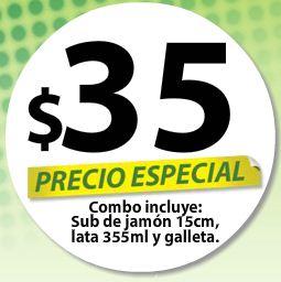 Subway: combo de sub de jamón, refresco y galleta por $35