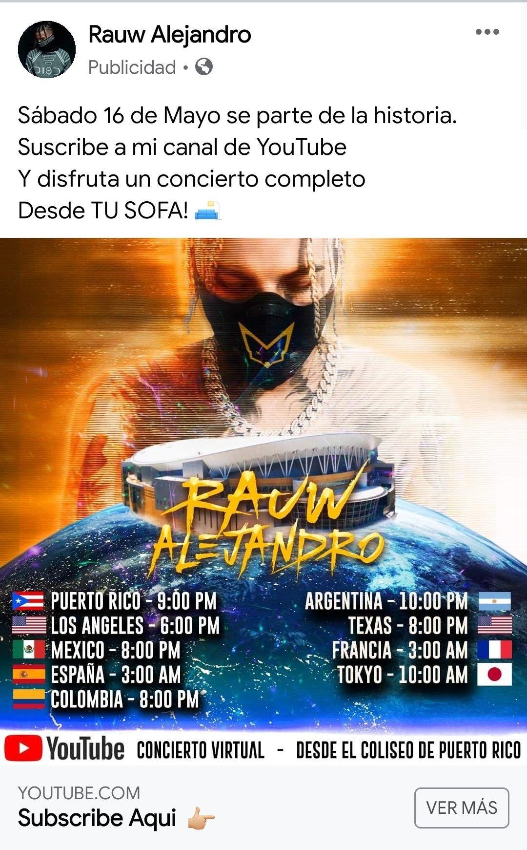 Concierto RAUW ALEJANDRO GRATIS vía YouTube