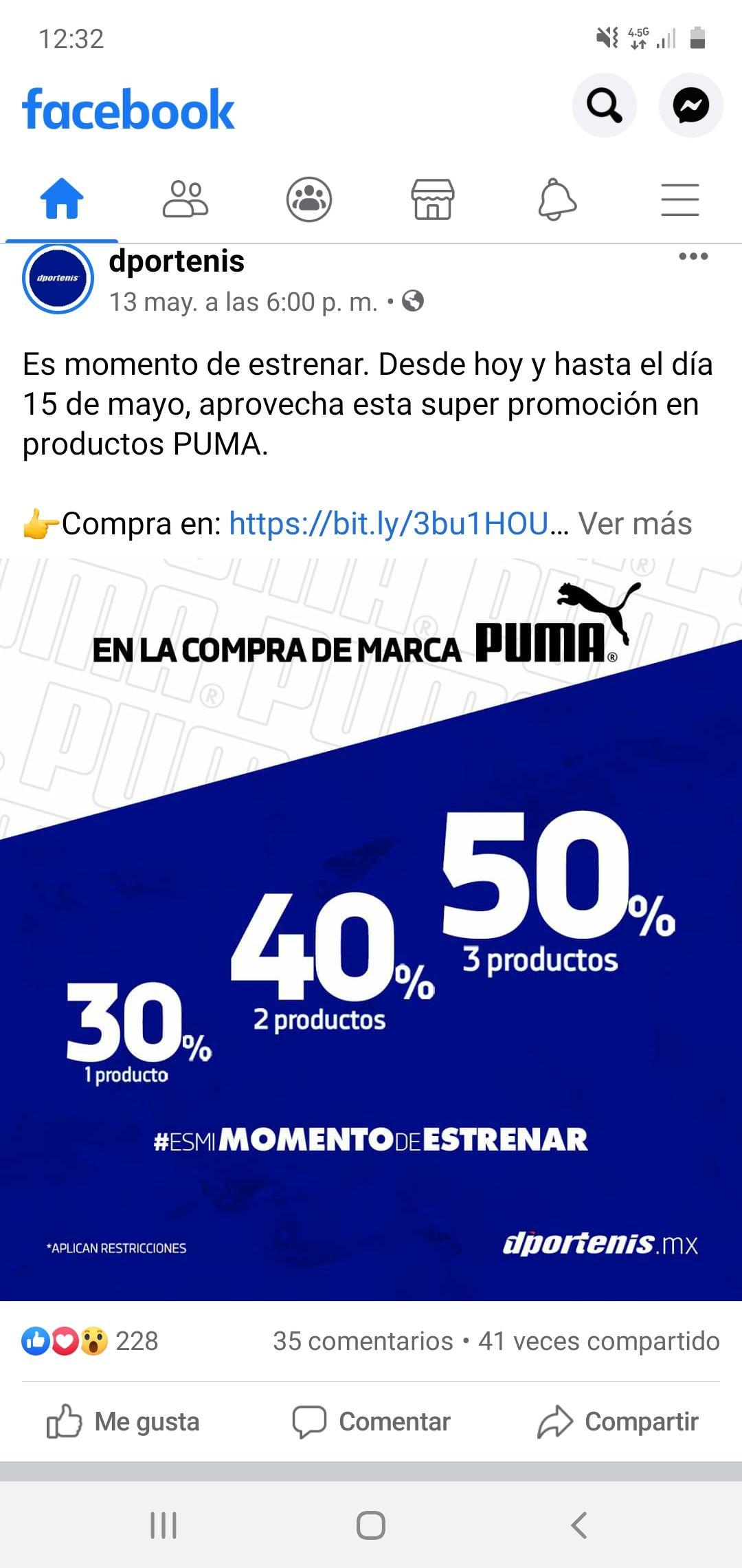 Dportenis: Descuento escalonado en Puma (30, 40, 50%)