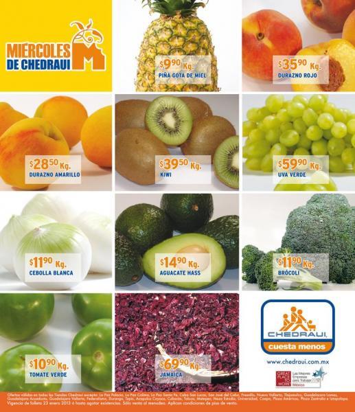 Miércoles de frutas y verduras Chedraui enero 23: toronja $1.90, manzana roja $16.90 y +