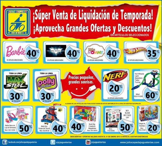 Venta de liquidación Julio Cepeda: 30% de descuento en Polly Pocket y Max Steel, 40% en Barbies y +