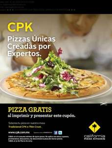 California Pizza Kitchen: pizza gratis con consumo de $300 y cupón