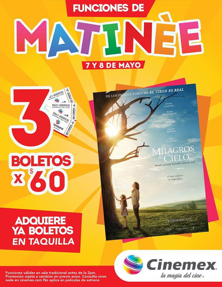 Cinemex: 3 boletos para matinée Milagros en el cielo 7 y 8 de mayo