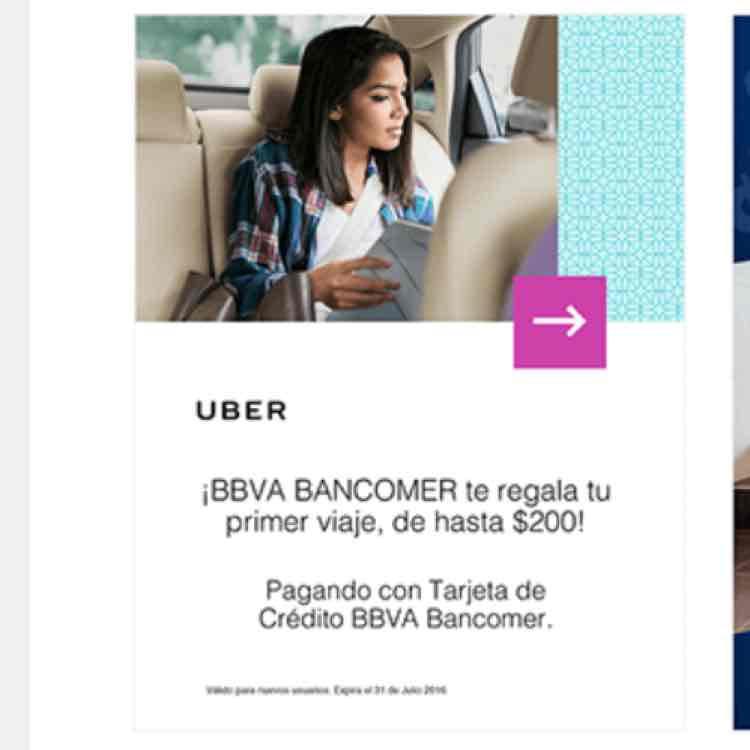 Hasta $200 en primer viaje Uber con BBVA BANCOMER