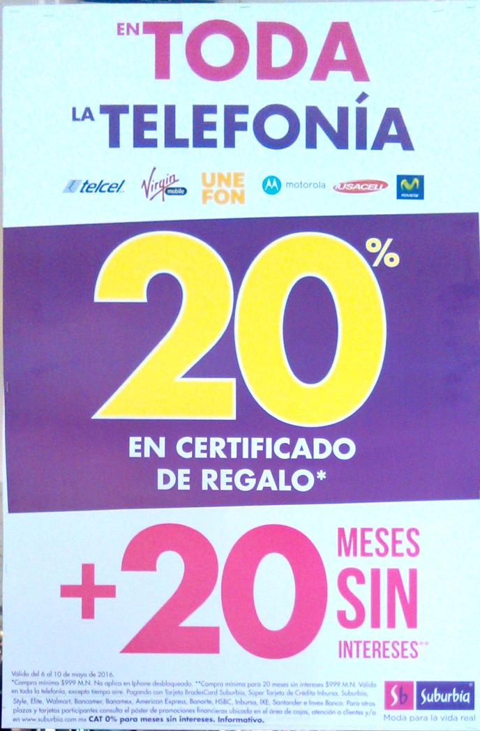 Suburbia: 20 meses sin intereses en toda la telefonía