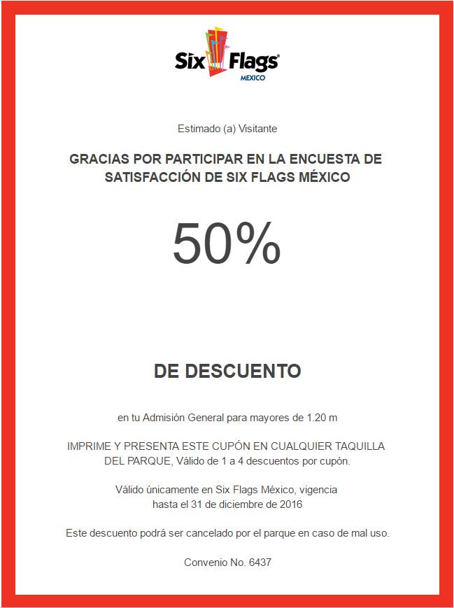 Six Flags: cupón de 50% de descuento contestando encuesta