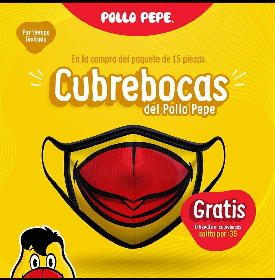 Pollo Pepe: Cubrebocas gratis en la compra del paquete de 15 piezas