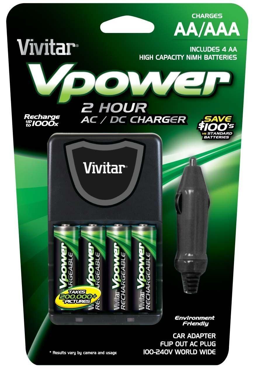 Amazon: Vivitar Compact Car Charger for 4 Batteries (VIV-BC-392)