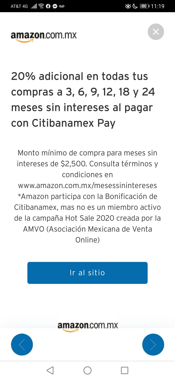 Amazon y Citibanamex: Bonificaciones durante Hot sale