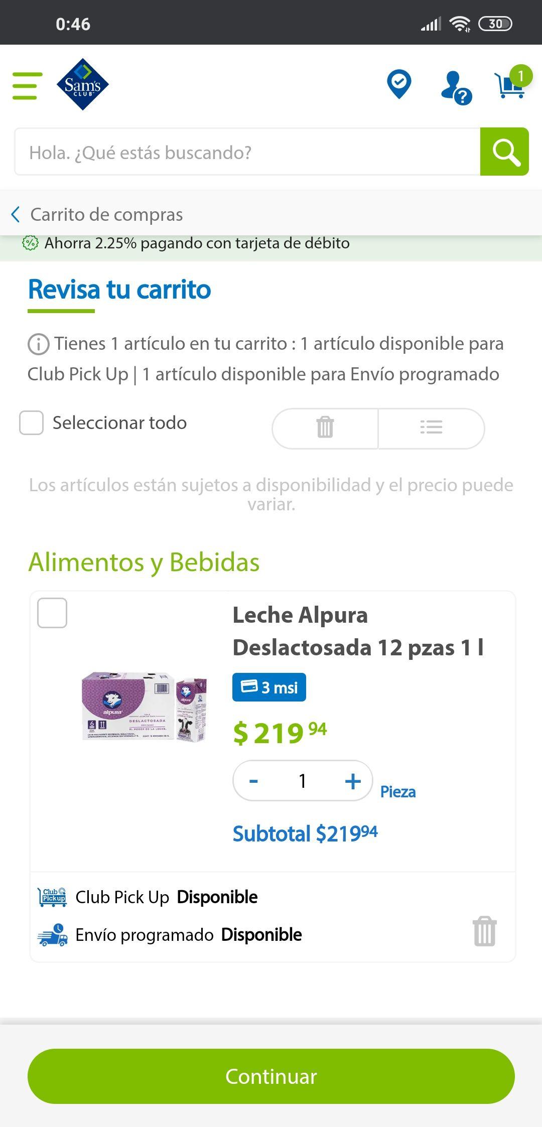 Sam's Club: Leche Alpura Deslactosada, 220.00 caja 12 litros.