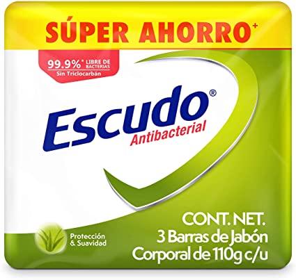 Amazon: Escudo Antibacterial, Jabón de Tocador Protección Protección Con Aloe Vera, 3 barras de 110gr