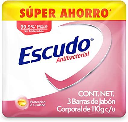 Amazon: Escudo Antibacterial, Jabón de Tocador Protección con Vitamina E, 3 barras de 110gr