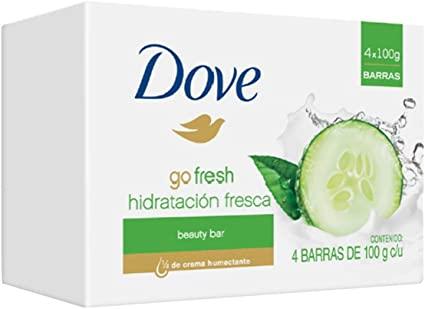 Amazon: Dove Go Fresh Hidratación Fresca- Jabón de Tocador, 100 gr, 4 Piezas